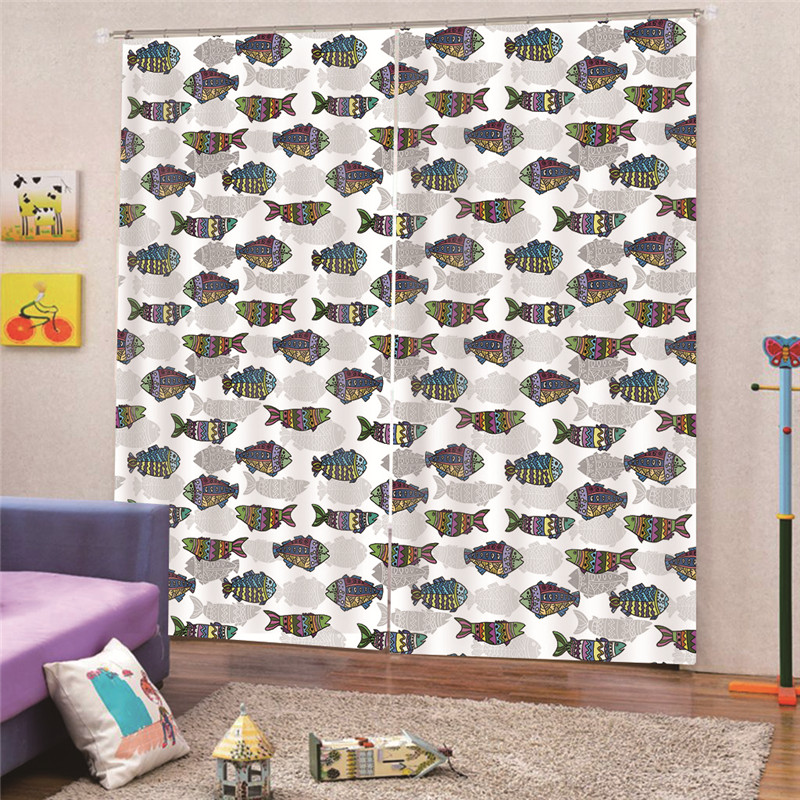Multiple styles Fish 3D Curtain 150*166cm/170*200cm 2Pcs/Set Window Curtain Modern bedroom Living Room Curtains A1
