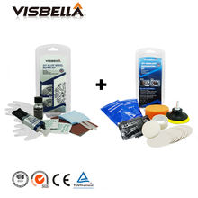 Alloy wheel repair adhesive kit 5 minutes general purpose alloy silver paint DIY fix tool and Headlights Restoration Kit for car