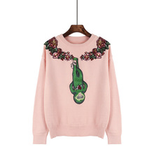 Yeeshan Knitwear Sweater Embroidery Money Cute Pink Jersey O-neck Long Sleeves Jumper Ponchos Mujer 2017 Coreano(China)