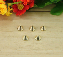 plastic spike 8mm gold studs Sewing Spikes Golden Plastic Punk DIY jewelry accessories Rivet/wholesale 2000pcs/lot free ship(China)