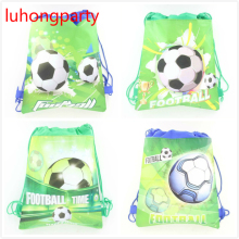 12pcs non-woven bags Football boy cartoon non-woven fabrics drawstring backpack, shopping Gift travel bag  LUHONGPARTY