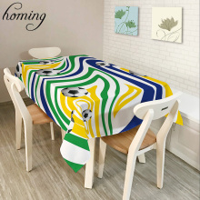 Homing New Arrive Rectangle Recycling Decoration Dinning Table Cloth Colorful Geometric Pattern Polyester Oilproof Table Cover