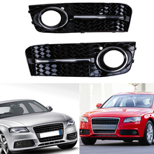 2Pcs Left & Right Black ABS Car Front Bumper Lower Grill Fog Light Grille Cover Case Fit for Audi A4/B8 2007-2011 Pre-facelift(China)