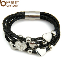 Alibaba Express Fashion Leather Wrap Woven Heart Crystal Bracelet Black for Men Handmade Stainless Steel Man Jewelry PI0694(China)