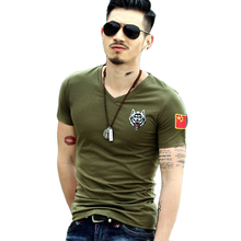 T-Shirt Men 2017 Summer New Cotton V Neck Short Sleeve T Shirt Men Fashion Trends Fitness Tshirt Embroidery Printed T-Shirt
