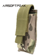 AIRSOFTPEAK Tactical Single Pistol Magazine Pouch Knife Flashlight Sheath Hunting Open Top Ammo Molle Pouch Cartridge Clip Bags