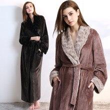 Women Men fur Neck Thick Warm Long Flannel Bathrobe Plus Size Kimono Bath Robe  Winter Peignoir 67262b653