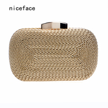 2017 new women messenger bags brand fashion wallet woven bag exquisite bride evening bag luxury knitting clutch vintage hand bag(China)