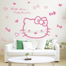 children's room decor wall stickers, nursery hello kitty cat DIY wall art(China)