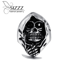SIZZZ NEW Men's Punk Gothic Emo Biker 316L Stainless Steel Anarchy Grim Reaper Skull Demon Ring Band Factory Price(China)