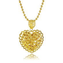 2017 Top Quality Gold Colou Pendant Necklace Big Fancy Bead Chain LOVER  Heart Necklace Jewelry Gift 1f4409e1d83e