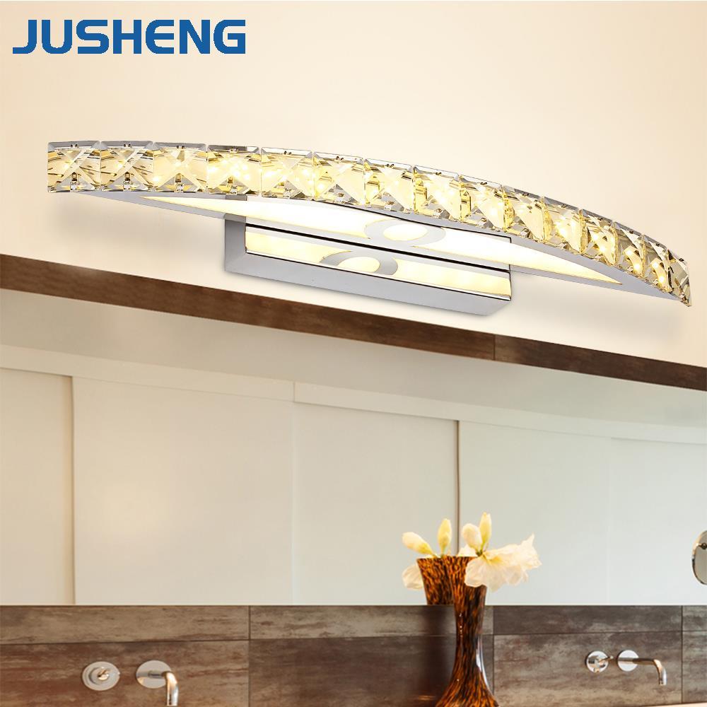 JUSHENG Modern 15W LED Bathroom Lights Top Mirror Lighting 100-240V Stainless Crystal Moon Shape Sconces Indoor 54cm Long