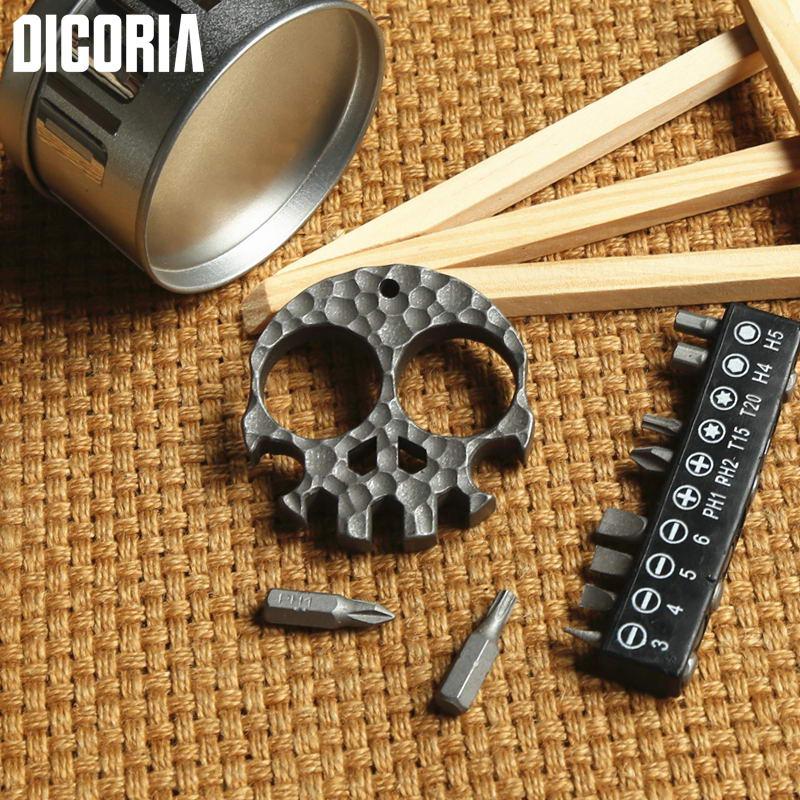 DICORIA Skull Skeleton TC4 Titanium Hand Tools sets Multi function Screwdrivers Sockets bottle opener outdoor gear pocket EDC<br>