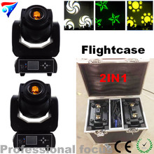 Flightcase 2PCS/LOT 90W spot LED Moving Head Light 3 Face Prism With LCD Display DMX led gobo light