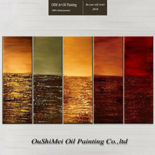 Manufacturer Directly Supply High Quality Artist Handmade Five Panels Modern Abstract Oil Painting On Canvas For Wall Decoration