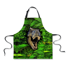 FORUDESIGNS Cool Animal Kitchen Aprons for Men Green Tiger Head Adult Funny Bibs Cleaning Tool Restaurant Chef BBQ Cooking Apron