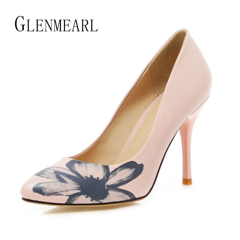 Brand Women Pumps High Heels Shoes Soft Leather Pointed Toe Spring Single Dress Shoes Woman Thin Heels Party Pumps Female 45 <br>