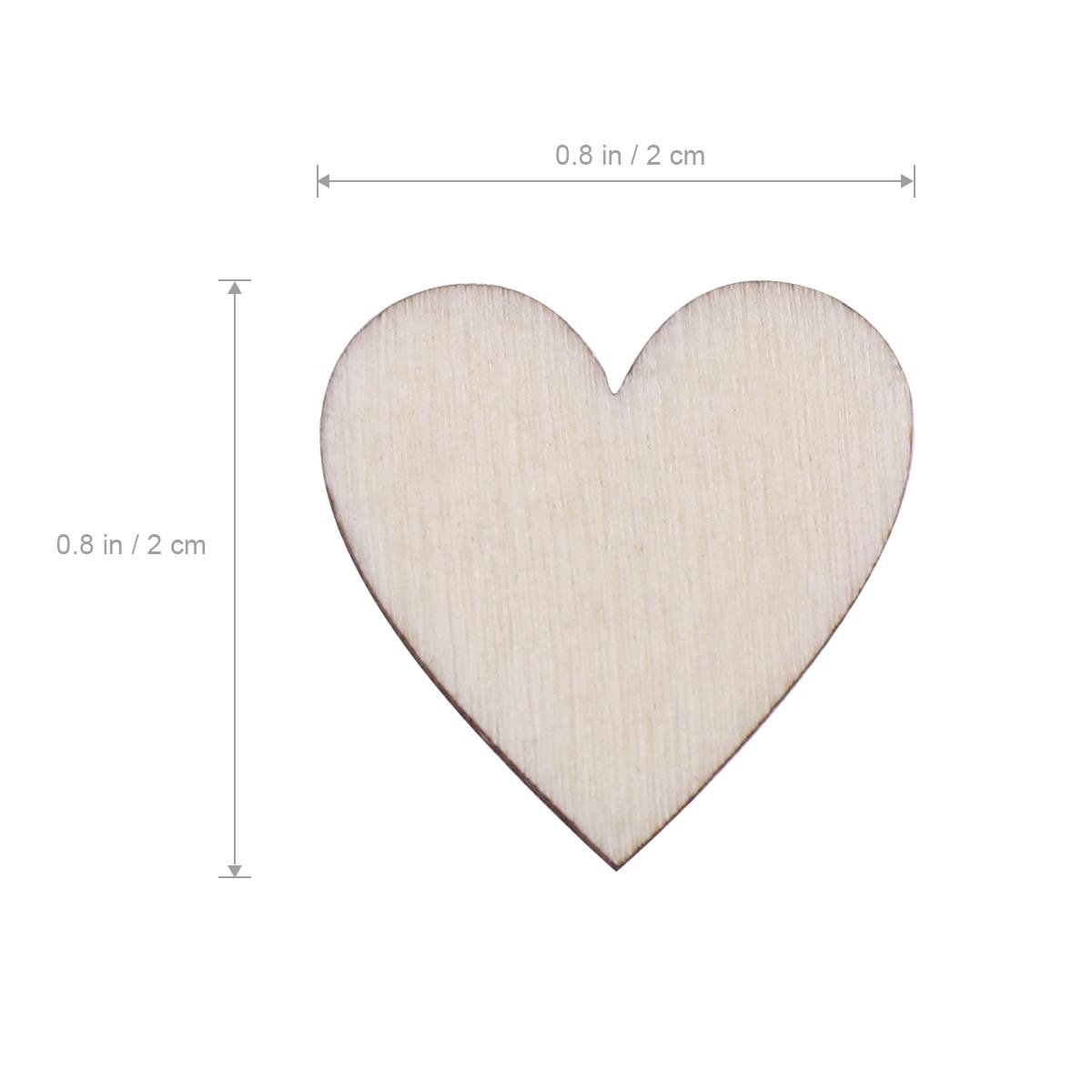 50pcs Love Heart Shape Wooden Pieces DIY Craft for Rustic Wedding Decor