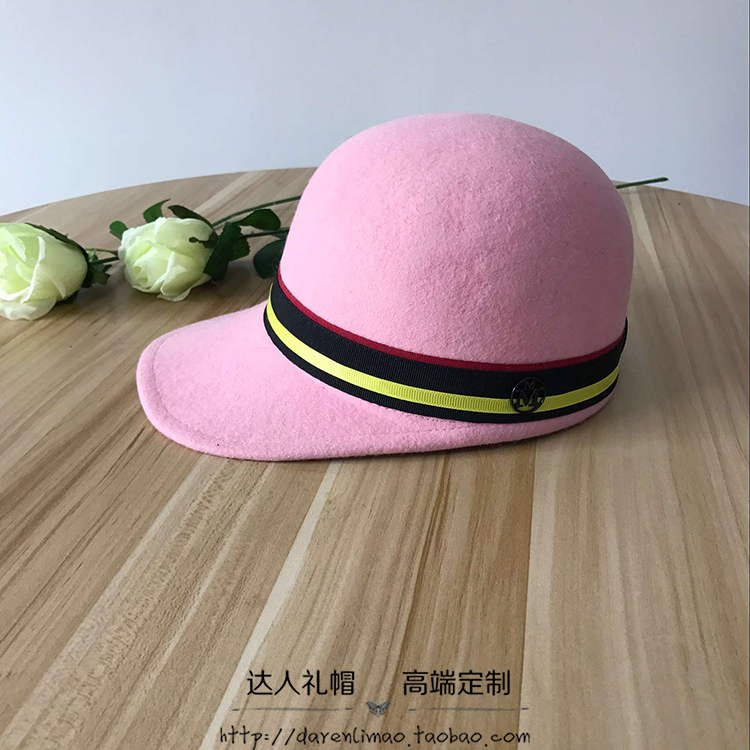 Wool, equestrian cap spell evanescent hues with adornment pure color double black metal logo female baseball cap hat<br>