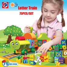 Kid's Home Toys 75PCS My First Edition Letter Alphabet Train Model Large Particle Building Blocks Kid Gift Compatible With Duplo(China)