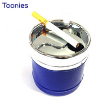 Hot High Quality Swivel Metal Car Ashtray with Lids Popular Automatic Clean Sealed Extinguish Portable Smokeless Cigarette Box(China)