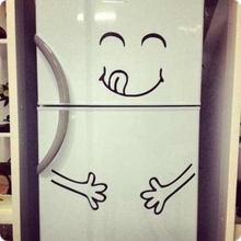 Cute Fridge sticker Happy Yummy Face Kitchen Fridge Vinyl Wall Sticker Art Refrigerator Wall Decals Home Decor(China)