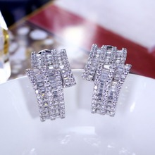 CZ Jewelry designer jewellery White color with top quality of Cubic Zirconia stones statement stud earrings wholesale lots