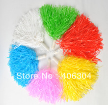 Free shipping,25g plastic PE cheerleading pompom ,pom pom ,red, blue ,green ,white ,black ,yellow ,purple and hot pink(China)