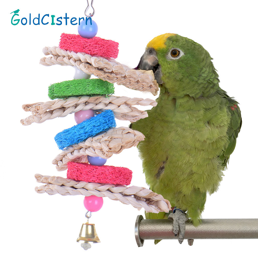 New Towel Gourd Bird Toys Handmade Pets Parrot Toys Healthy Log Playing Chewing Pecking Toy toys for Parrots Birds Have Fun(China)