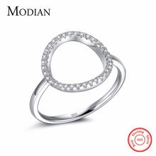 Classic Fashion Hollow out Hoop Sparkling White And Rose Ring Cubic Zirconia Jewelry Real Solid 925 Sterling Silver Rings(China)