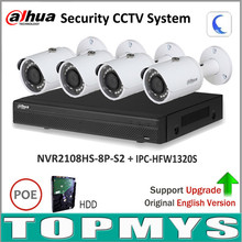 Dahua Security NVR Kit With IP Camera NVR2108HS-8P-S2 IP Camera IPC-HFW1320S P2P Surveillance System Easy to install Updatable