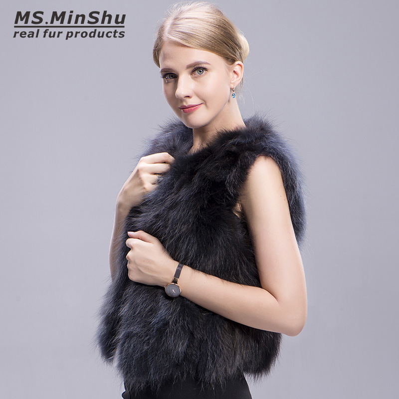 raccoon fur vest grey 3