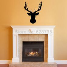 Free shipping Wall Stickers Deer Head ,Vinyl Wall Decal Deer Head Decor for your Lodge, cabin, Modern Home ,P2046(China)