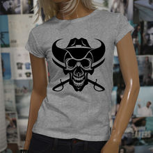 New Fashion Woman T Shirt Hot Sale Brand Clothing Cowboy Skull Western Country Evil Dead Swords Womens Gray Tee Shirt(China)