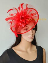 NEW 7 colours Red Big Crin Fascinator  Feather Fascinator sinamay hat kentucky Derby Hat for Wedding.