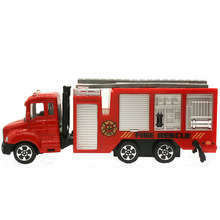 1:64 Mini Toys Cars Model Alloy Aerial Ladder Fire Truck Engineering Car Model Display Stand Gift for Kids (L:W:H)17:4:8CM(China)