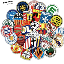50pcs/bag 2016 New Style Football Club LOGO PVC Sticker Waterproof Stickers Fashion Trunk Laptop Brand Stickers Toys