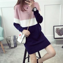 Fashion women long sweater dress and pullovers ladies autumn winter o neck knit Christmas Sweater stripe winter dress for women