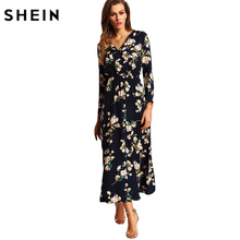 SHEIN New Arrival Boho Women Maxi Dresses Navy V Neck Long Sleeve Womens Elegant With Button Floral Long Party Dress(China)