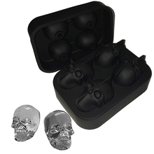 Free Shipping 3D Skull Flexible Silicone Ice Cube Mold Tray, Makes Four Giant Skulls, Round Ice Cube Maker, Black(China)