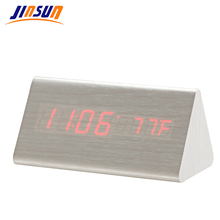 JINSUN Promotion! Multi-colors Best High-end Digital Clocks Desktop Clock Home Decor Thermometer Wooden LED Clock  KSW303