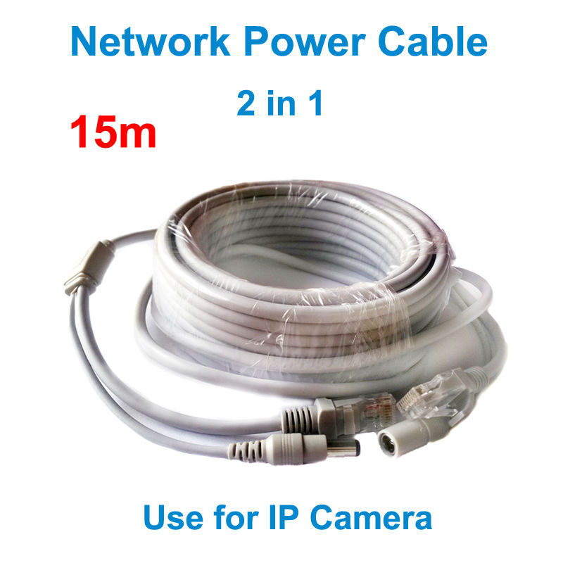 15M network cable DC Jack RJ45 Ethernet Port CCTV Camera Power Cable for security IP camera internet LAN cable power cable 2in1(China (Mainland))