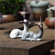 handmade small creative ceramic deer figurine fine tea pet tea table decoration