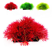Pet fish tank decoration Artificial Grass Plastic Water Plants Underwater Fish Tank Ornament Red(China)