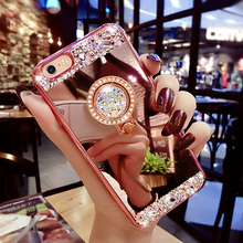 Pour iphone 6s case giltter strass miroir stand titulaire silicon cover pour iphone 6 6s plus diamant doigt grip stand case capa