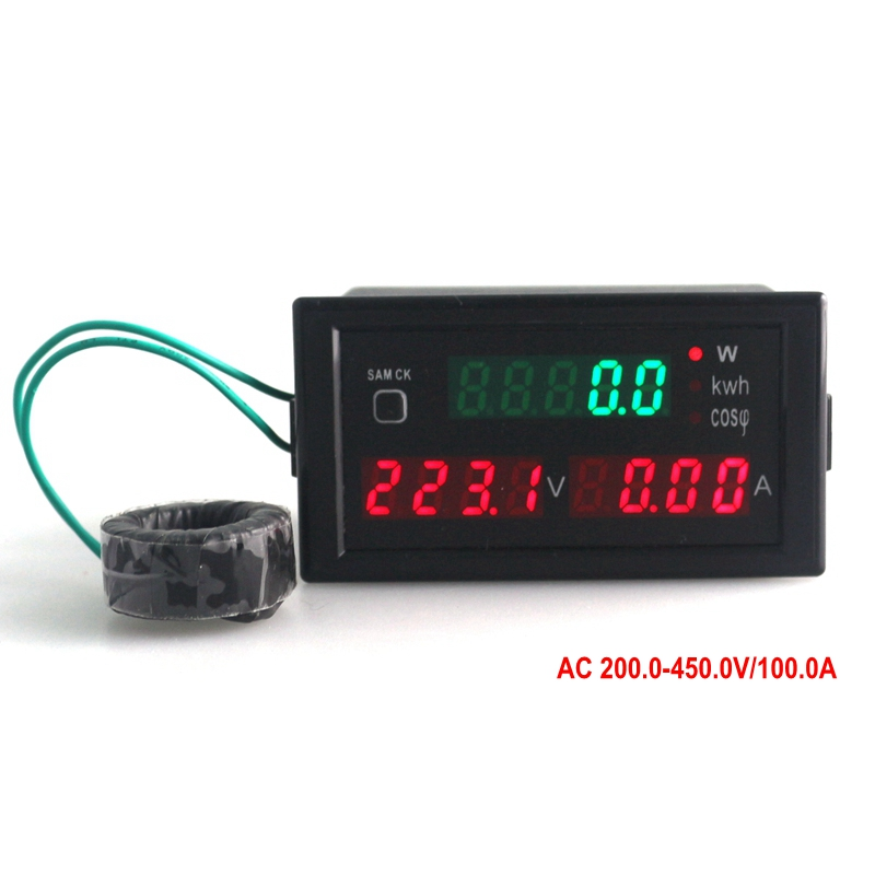Multi-functional LED panel meter display active Power energy power factor voltage current AC200.0-450.0V 0-100.0A volt amp meter<br><br>Aliexpress