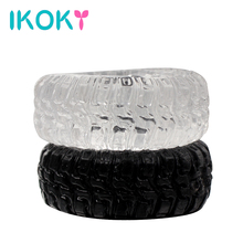 IKOKY 2Pcs/Set Tire Type Silicone Delay Ejaculation Cock Rings Black/Transparent Sex toys for Men Penis Rings Sex Cockring(China)