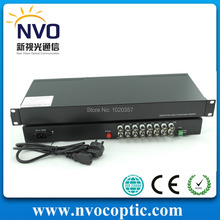 Free Shipping,20KM,FC,SM,16 Channel Fiber Optic RJ45 to BNC Video Converter,Euro Power Adaptor