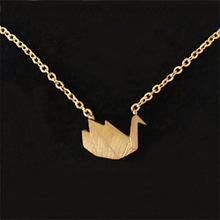 Gorgeous Tale Origami Swan Necklace Pendant Gold Color Stainless Steel Clavicle Chain Choker Charm Necklace For Women