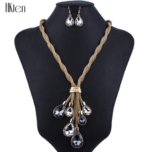 MS1504306 Fashion Jewelry Sets Hight Quality 2 Colors Necklace Sets For Women Jewelry Crystal Unique Tassel Design Party Gift